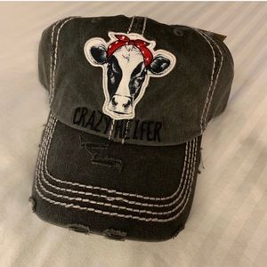 Crazy Heifer distressed gray hat red bandana NWT